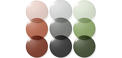 A three by three grid of nine lenses, each column showing a different color and a darker tint as it descends